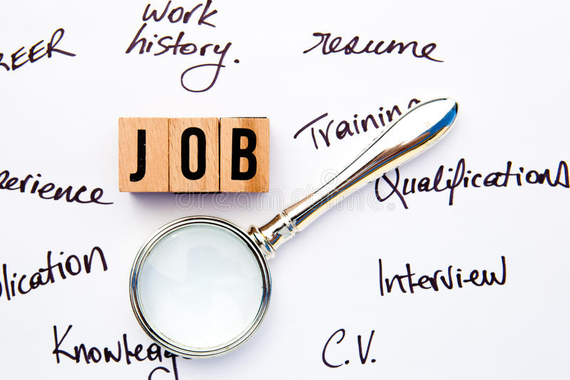Job Search. With handwritten notes and magnifying glass stock images