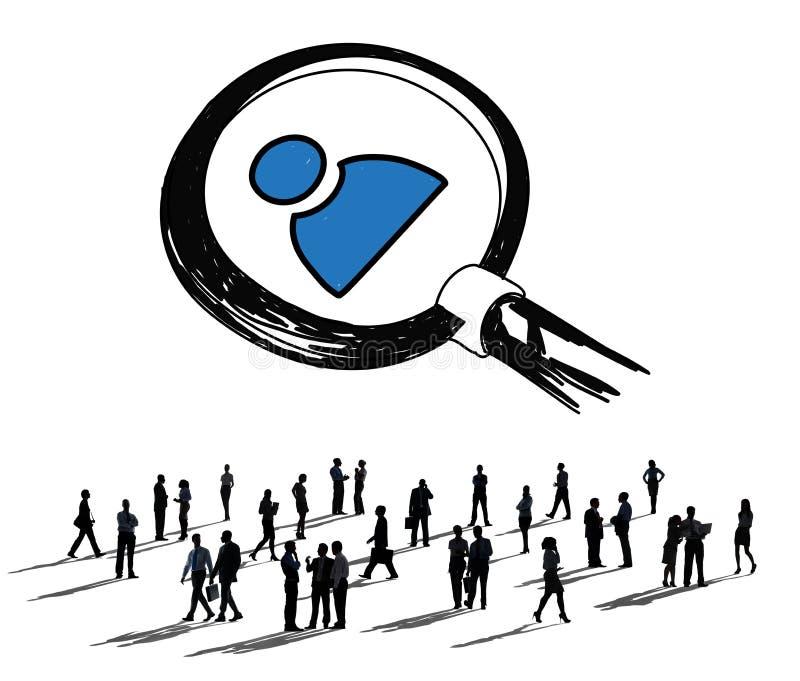 Job Search Human Resources Employees som söker begrepp royaltyfri illustrationer