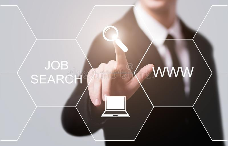 Job Search Human Resources Recruitment Career Business Internet Technology Concept.  royalty free stock images