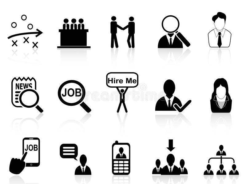 Job Search Icons Set Stock Vector. Illustration Of Check