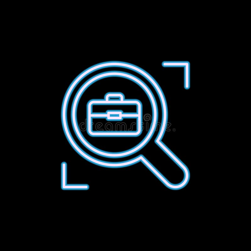 job search line icon in neon style. One of HR collection icon can be used for UI, UX royalty free illustration