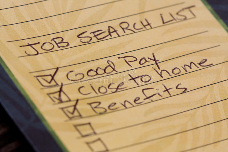 Job Search List. With handwritten items on a note pad stock photography