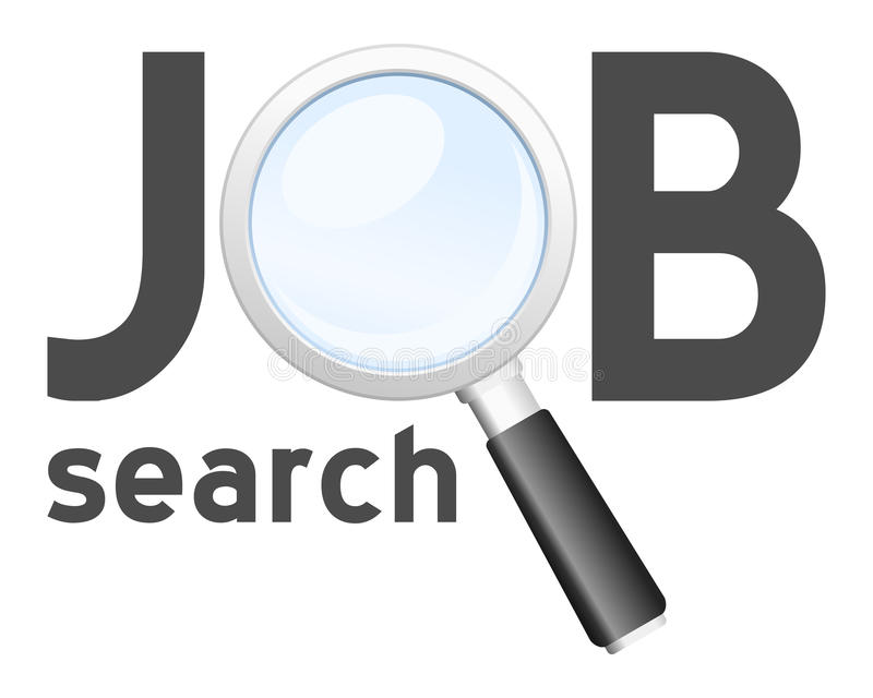Job Search Logo. Job search concept logo with a magnifying glass isolated on white background. Eps file available