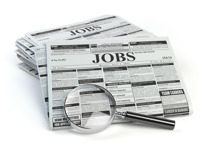 Job search. Loupe with jobs classified ad newspapers isolated. On white. 3d illustration stock illustration