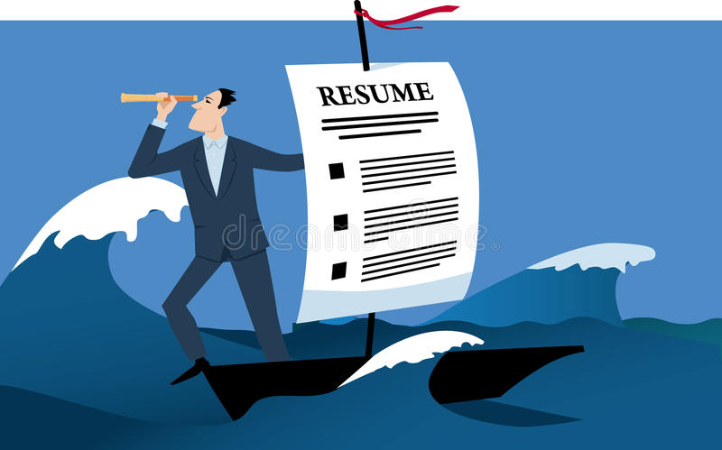 Job search. Man travelling on a boat with a sail made of a resume as a metaphor for a job search, EPS 8 vector illustration royalty free illustration