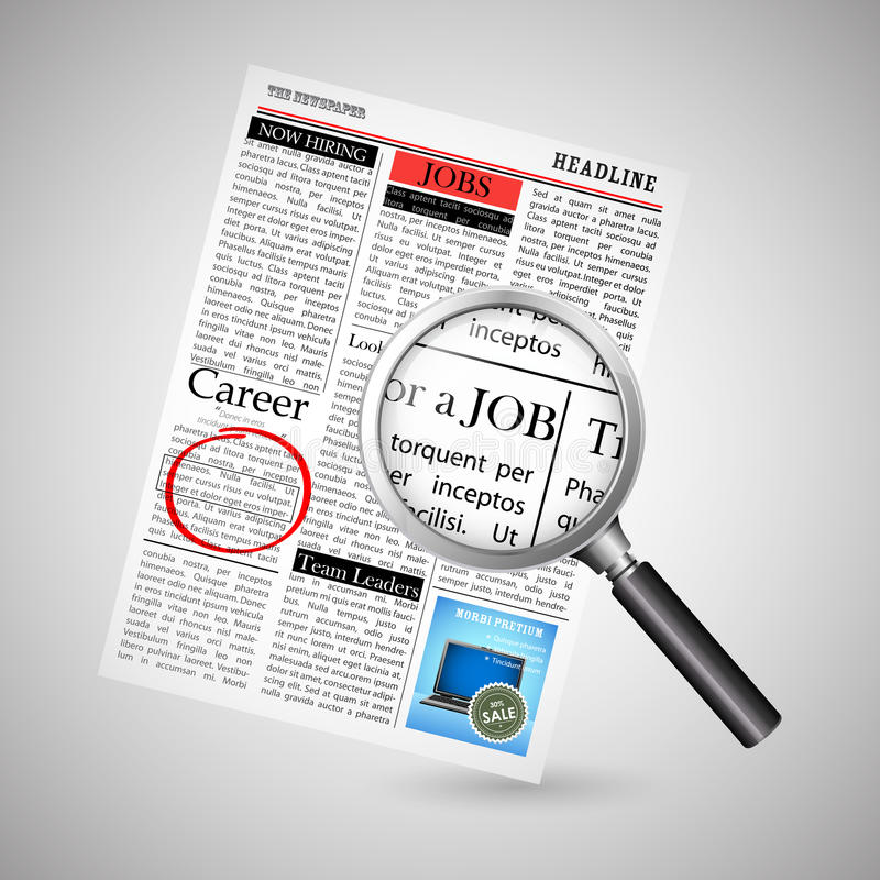 Job Search in Newspaper vector illustration