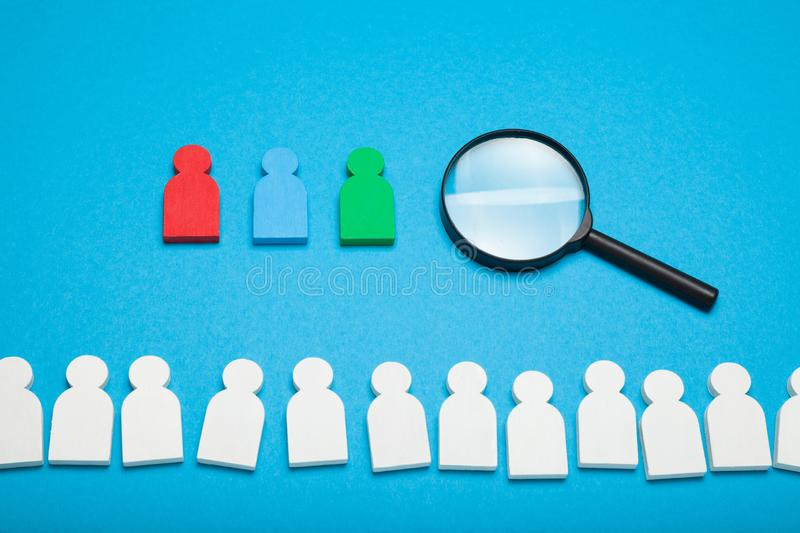 Job search opportunity, recruitment agency.  Hiring people resource, social analysing royalty free stock image