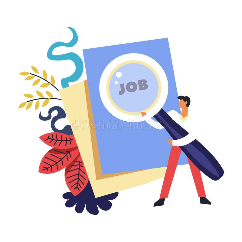 Job search of person holding magnifying glass and reading paper. Vector. Man businessman looking for position, vacant post in company. Recruitment of employees royalty free illustration
