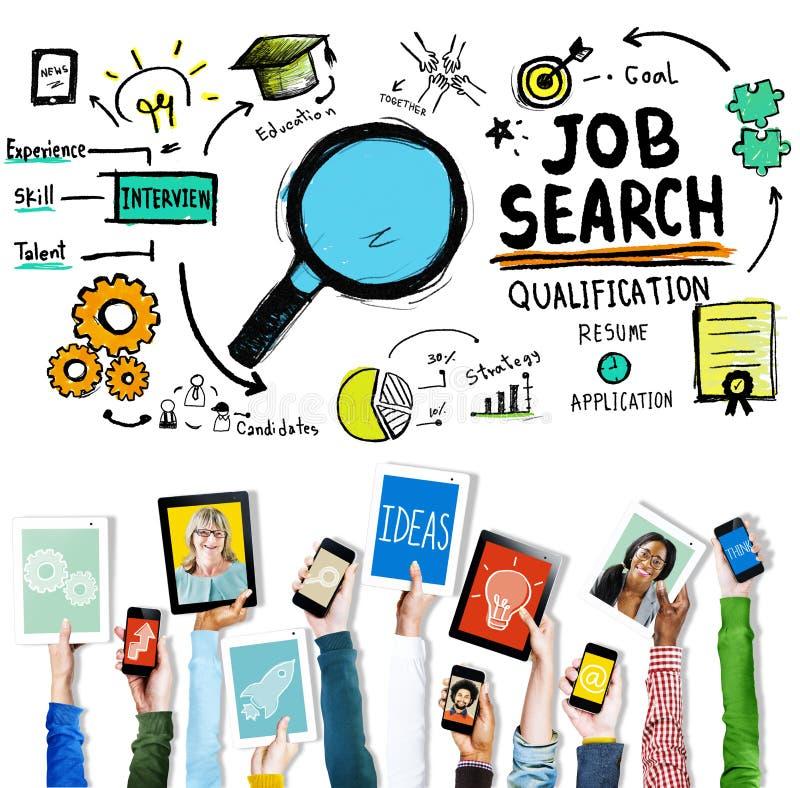 Job Search Qualification Resume Recruitment-het Huren Toepassing C royalty-vrije stock afbeeldingen