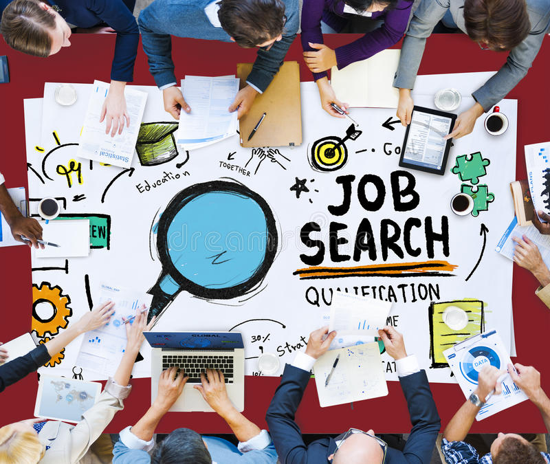Job Search Qualification Resume Recruitment Hiring Application C. Oncept stock photos