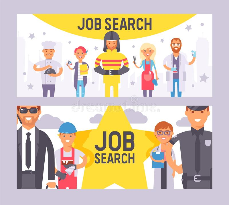 Job search set of banners vector illustration. People of different professions. Labor Day. People occupation job vector illustration