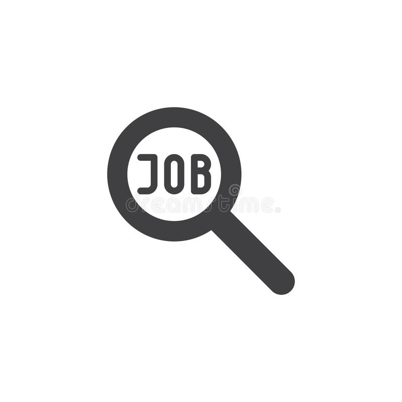 Job search vector icon. Filled flat sign for mobile concept and web design. Magnifying glass and job text simple solid icon. Symbol, logo illustration. Pixel vector illustration