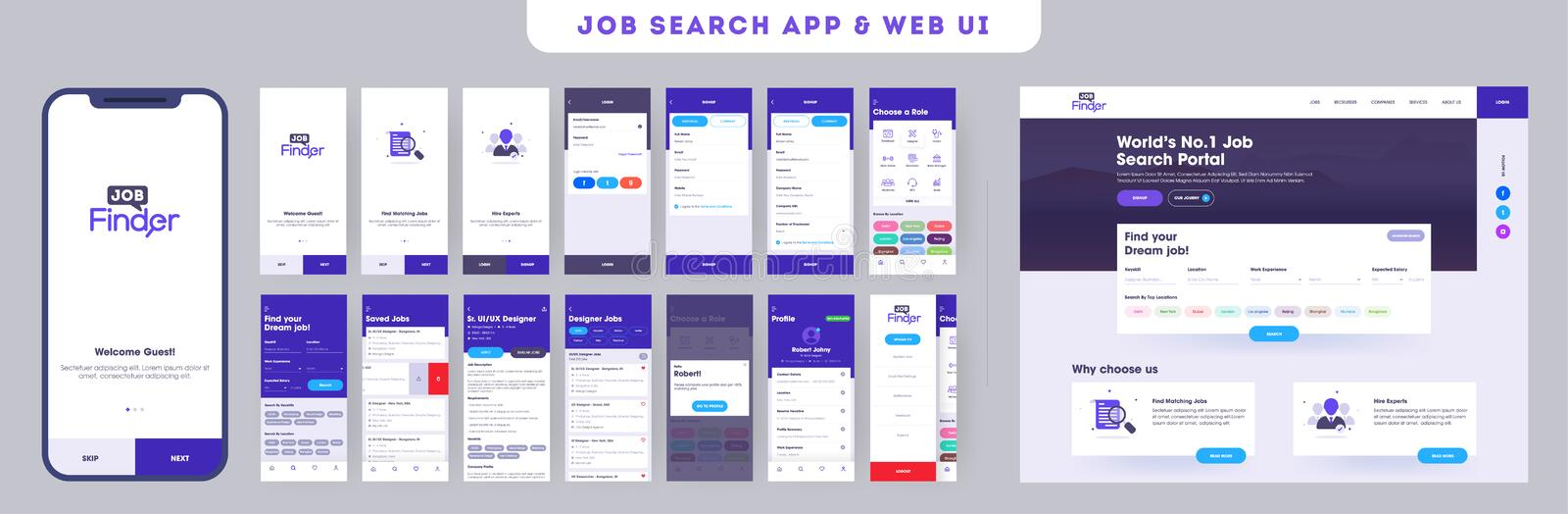 Job searching app ui kit for responsive mobile app or website with different application layout. vector illustration