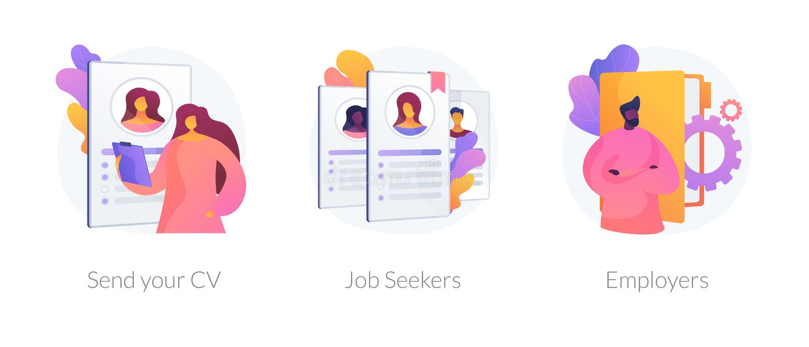 Looking for a job vector concept metaphors. Job searching. Employment service, recruitment agency. Resume writing, finding work. Vacant position. Send your CV vector illustration
