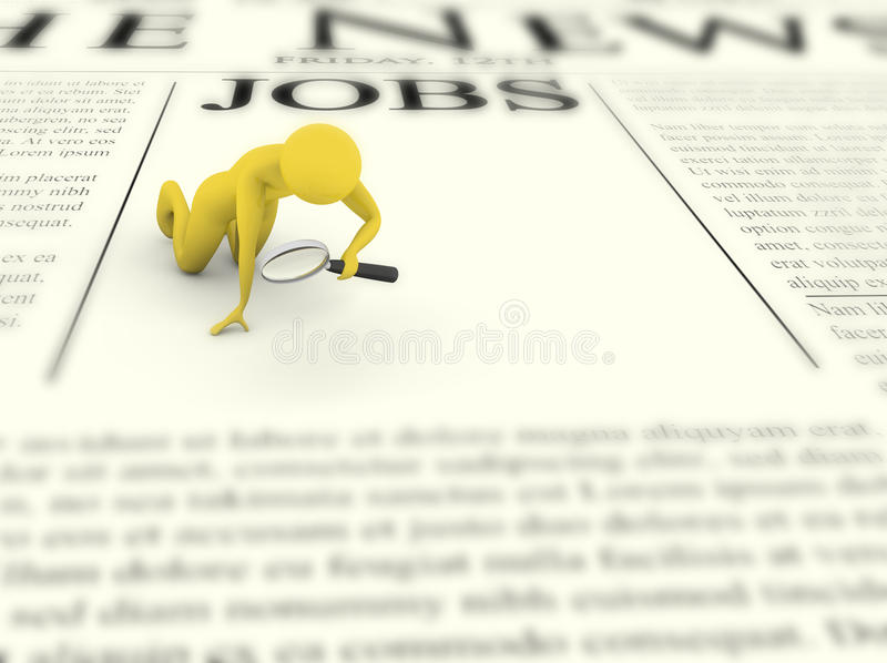 Job searching man with magnifier. Searching concept. Man with magnifying glass looking for job royalty free illustration