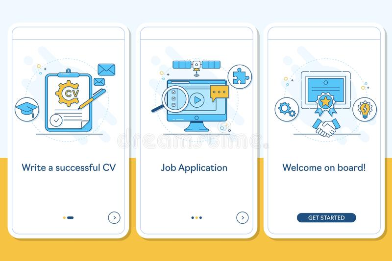 Job searching onboarding mobile app page screen with linear concepts, Write CV, apply job, interview, getting work steps vector illustration