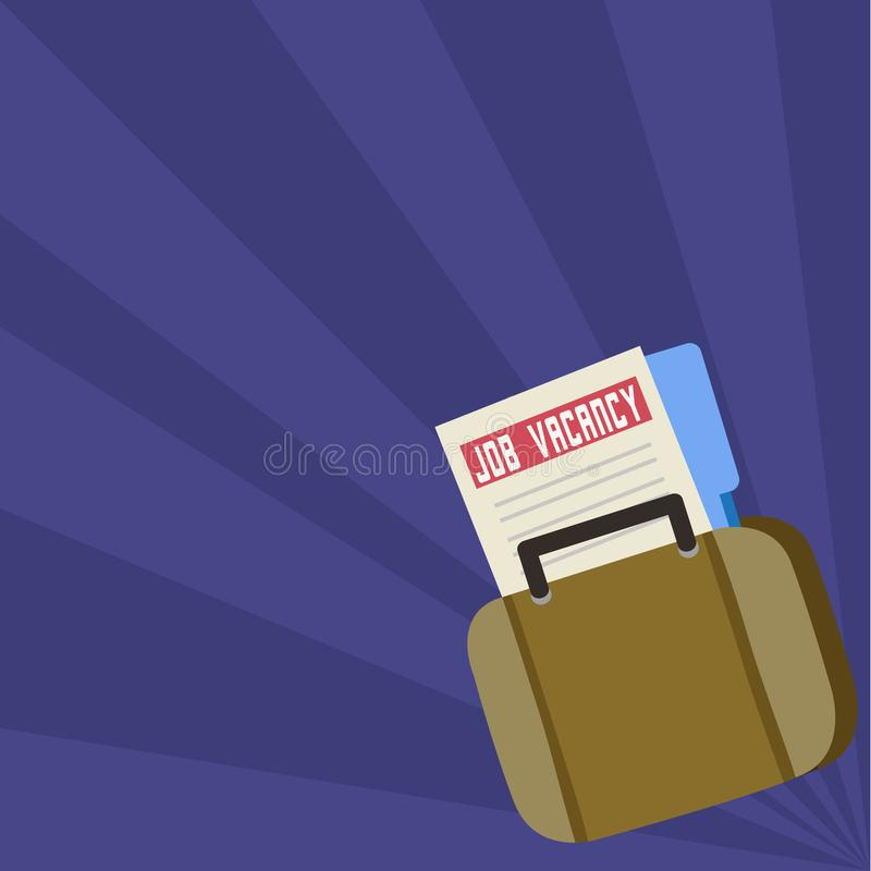 Job Seeker Vacancy File and Folder Inside a Bag. Applicant Portfolio Tucked in a Briefcase. Announcement for Employment stock illustration