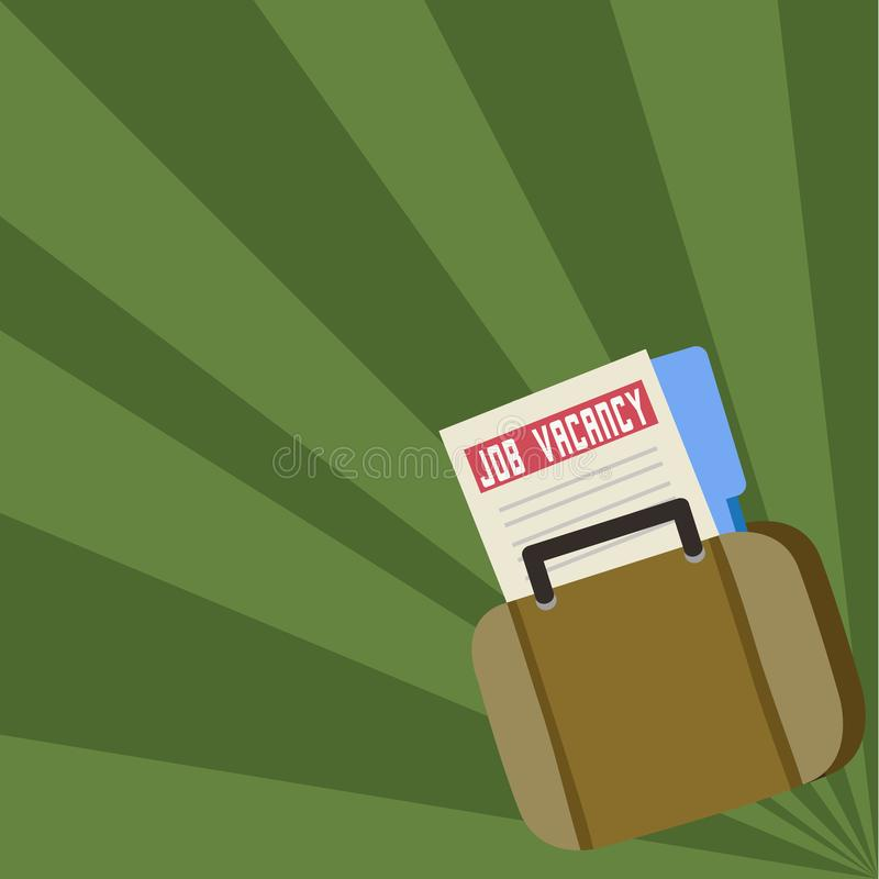 Job Seeker Vacancy File and Folder Inside a Bag. Applicant Portfolio Tucked in a Briefcase. Announcement for Employment vector illustration