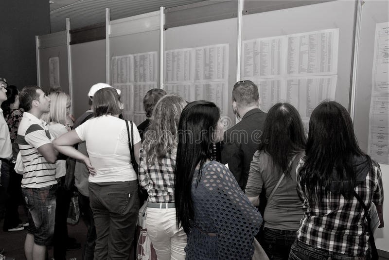 Job-seekers queuing at the Jobs Fair for Graduates