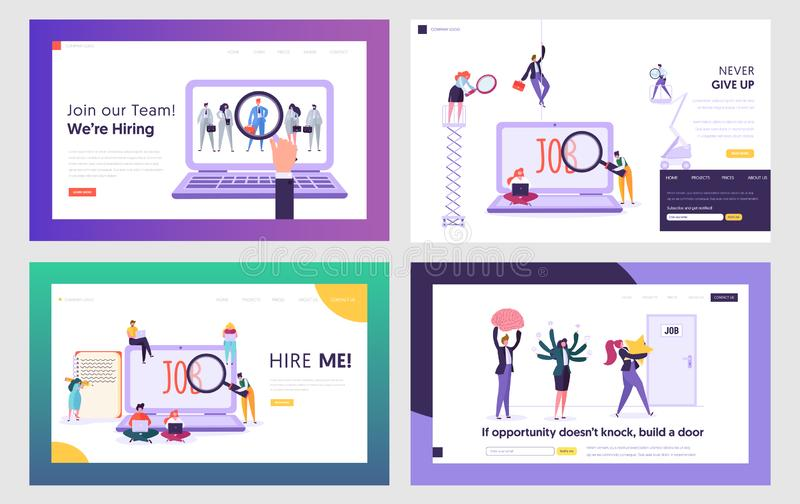 Job Seekers Searching Work Website Landing Page Templates Set. People Hiring Vocation in Internet, Waiting Audience Interview royalty free illustration