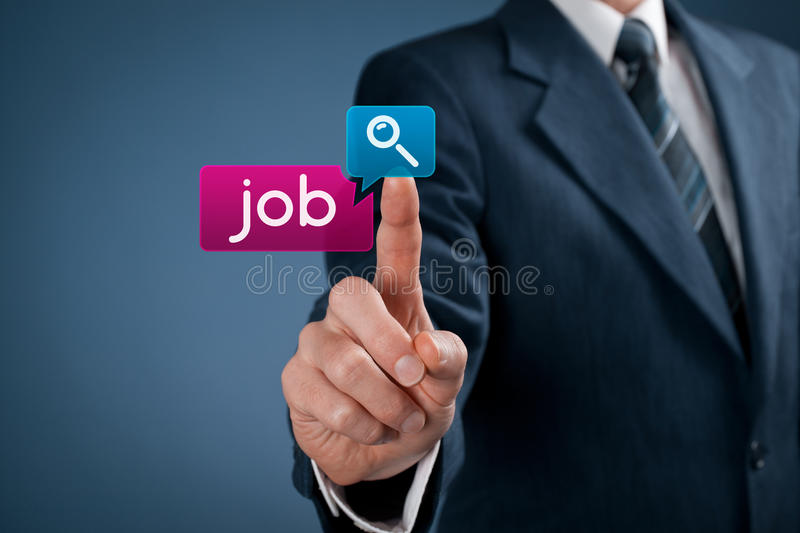 Job seeking. Concept. Businessman click on magnifying glass icon and job button royalty free stock images