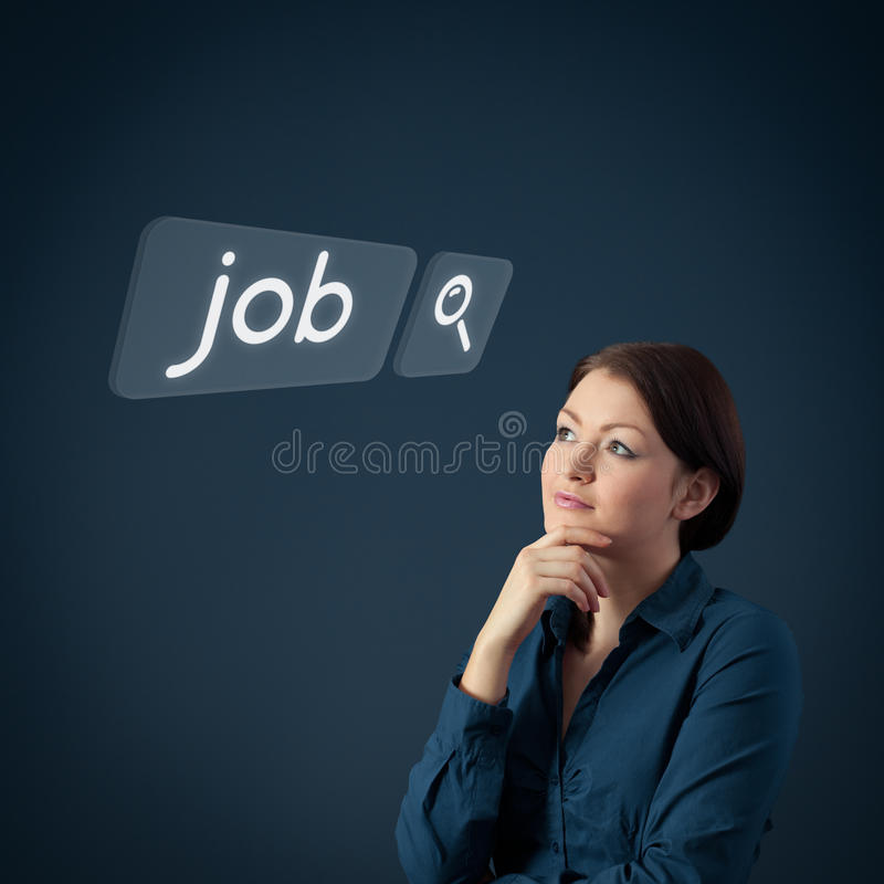 Job seeking. Concept. Female officer think about seeking of new job royalty free stock photos