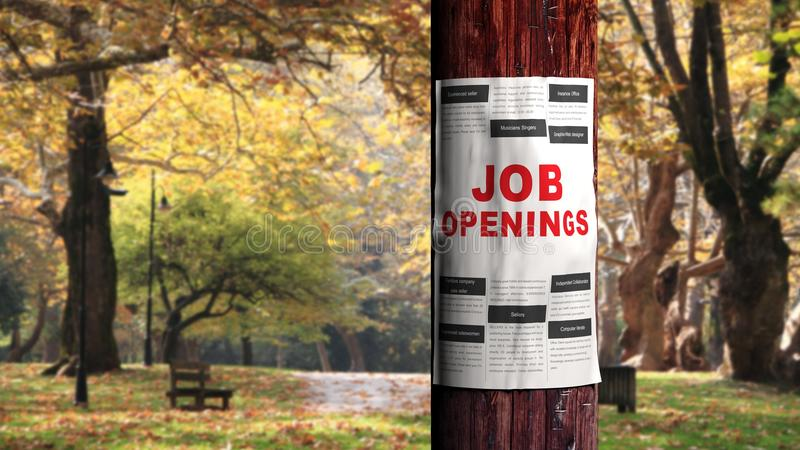 Job seeking. Concept, newspaper page on the tree stock photography