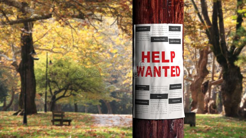 Job seeking. Concept, newspaper page on the tree stock images