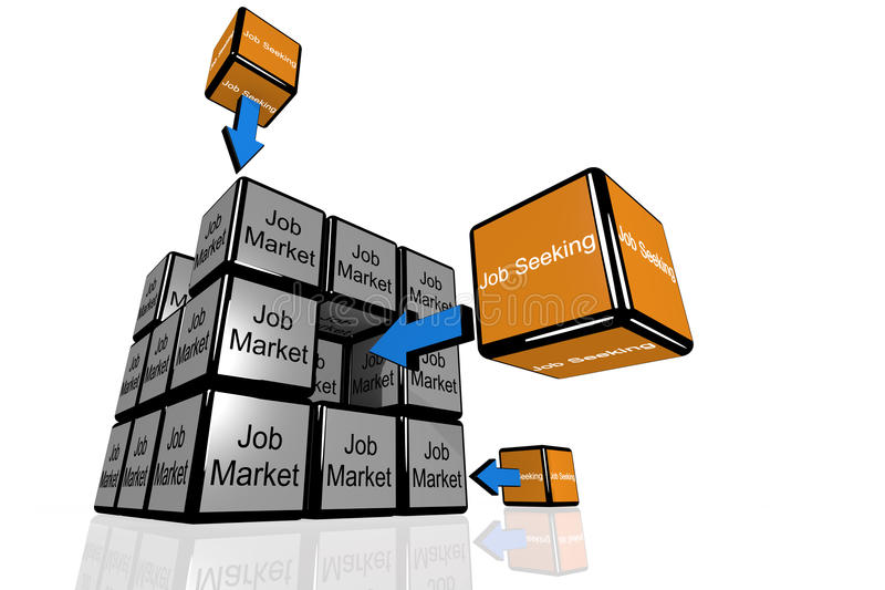 Job Seeking and the Job Market symbolized with flying cubes royalty free illustration