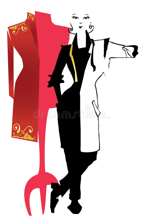 JOB SERIES dressmaker, dummy. Dressmaker or stylist with dummy -vectorial image royalty free illustration