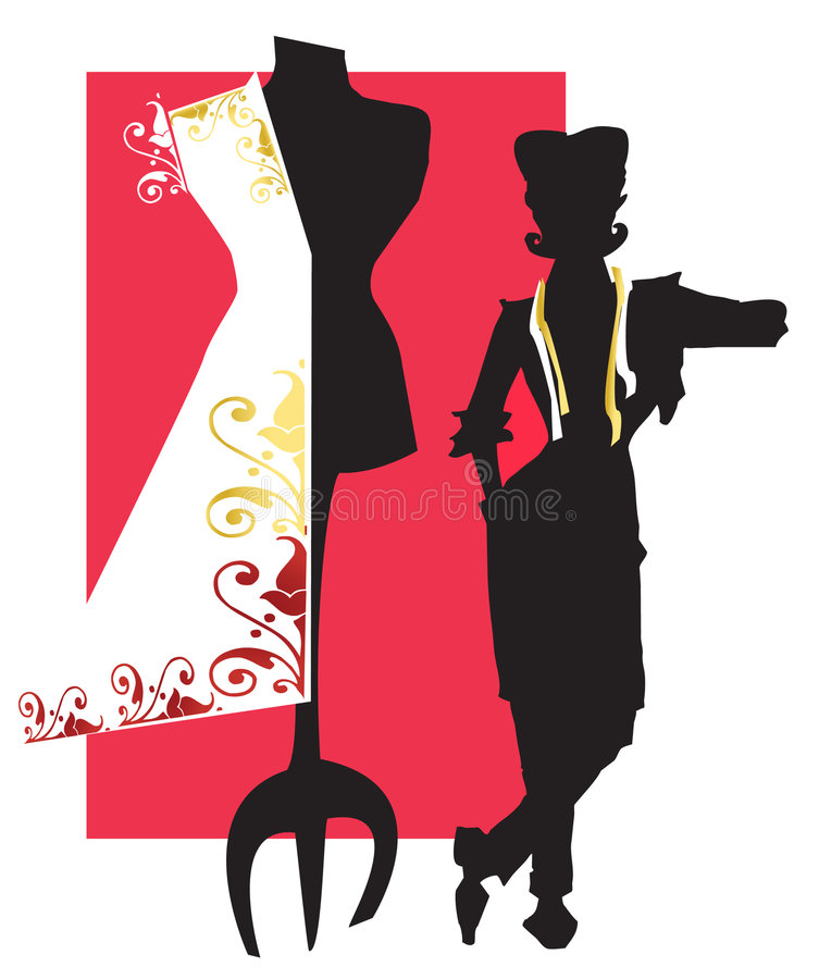 JOB SERIES dressmaker,dummy. Dressmaker or stylist with dummy (vectorial stock illustration