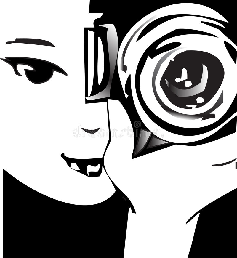 Portrait of Photographer with Camera vector illustration