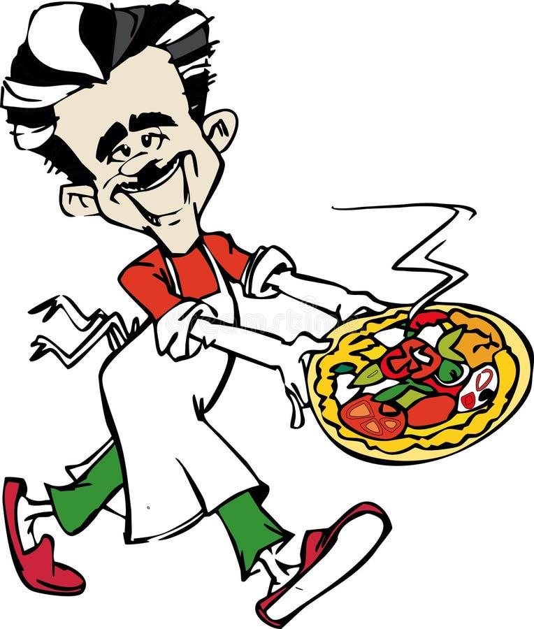 Pizzaiolo cook with Italian Pizza vector illustration