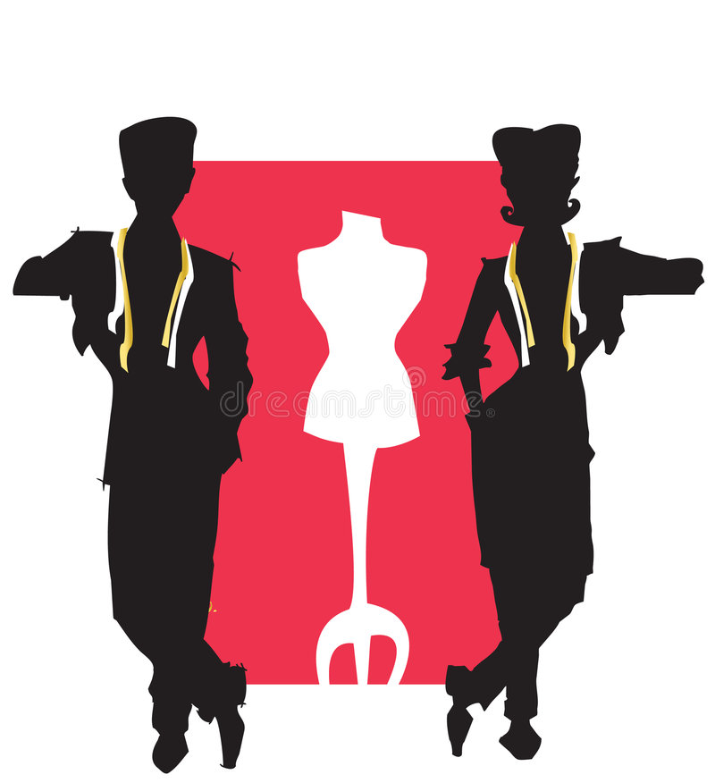 JOB SERIES tailor,dressmaker. Tailor and dressmaker (stylist) with dummy -vectorial stock illustration