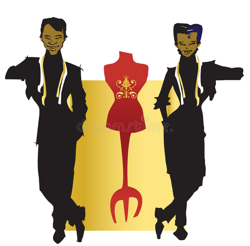 JOB SERIES tailor dressmaker. Tailor and dressmaker ,couple with dark skin (vector royalty free illustration