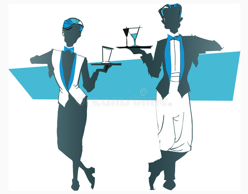 Job series -waitress waiter royalty free illustration