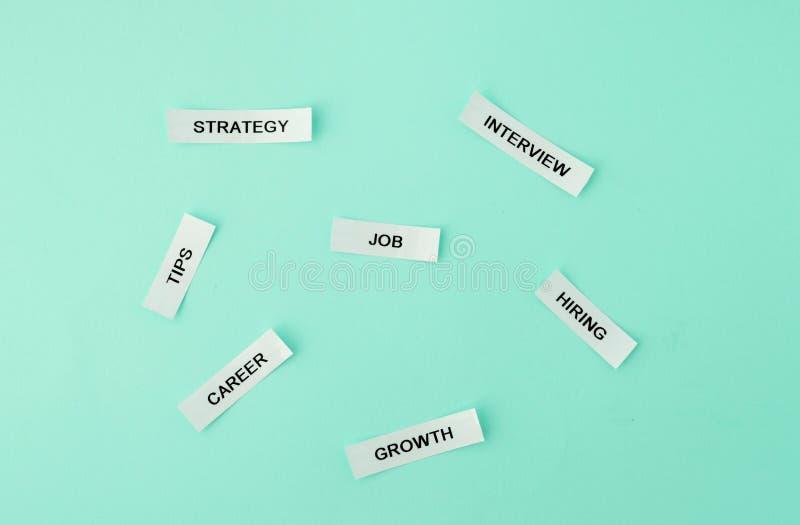 Job, Strategie, Tipps, Karriere, Interview, Wachstum, Einstellungswörter an lizenzfreie stockbilder