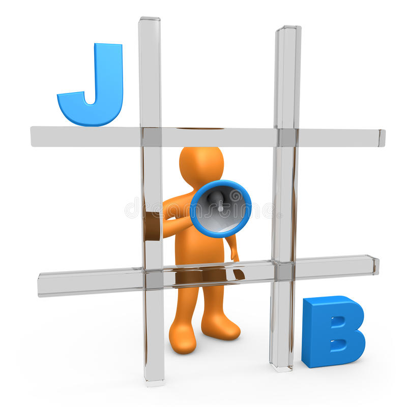 Job Tic Tac Toe. Metaphor of a person forming the word JOB on a large tic tac toe game vector illustration
