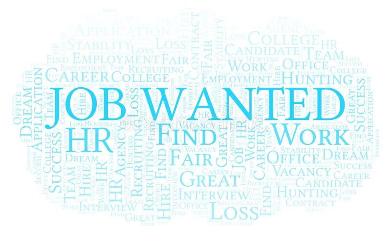 Job Wanted-Wortwolke lizenzfreie abbildung