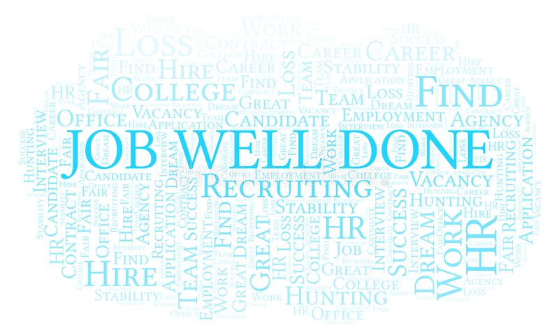 Job Well Done word cloud. Wordcloud made with text only vector illustration