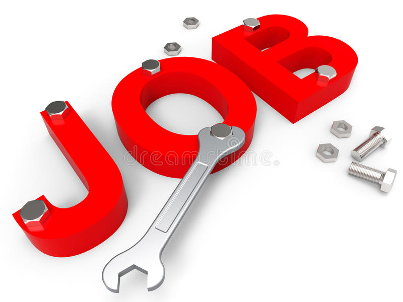 Job Word Shows Employ Me en schrijft in stock illustratie