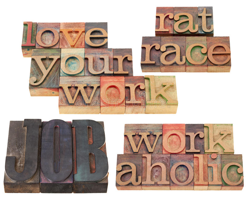 Job, workaholic and rat race stock images