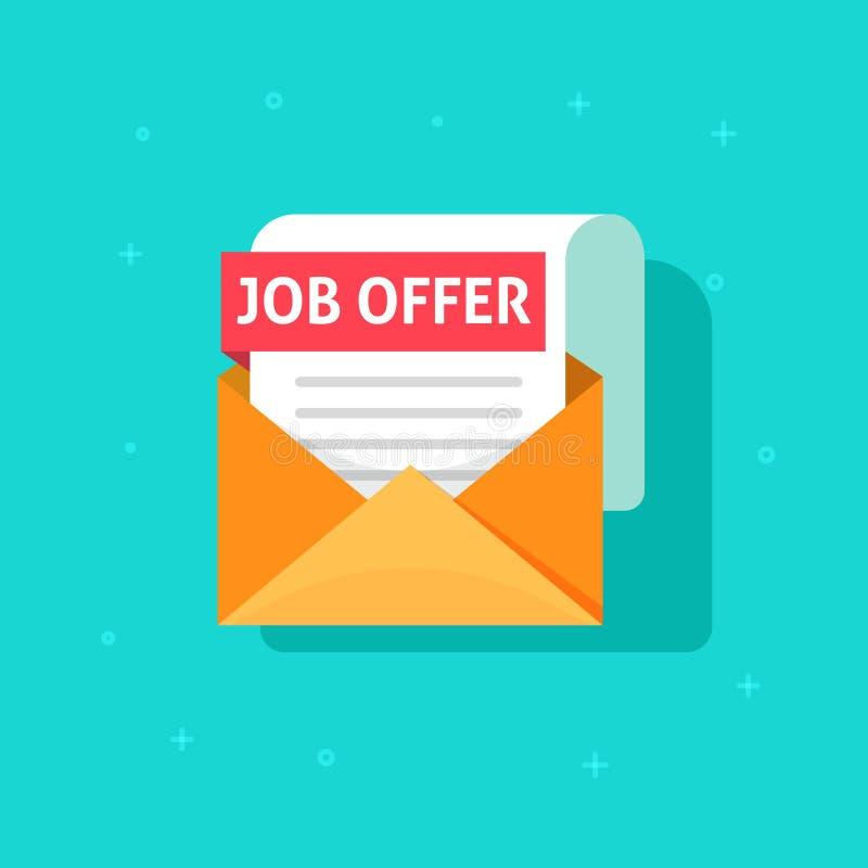 Jobangebottext auf E-Mail-Umschlagdokument, flaches Karikaturdesign des Einstellungskonzeptes, Arbeitssucherfolg, Buchstabe oder lizenzfreie abbildung