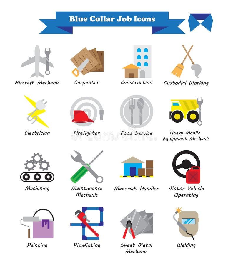 Jobb för blå krage - färgrika plana symboler royaltyfri illustrationer