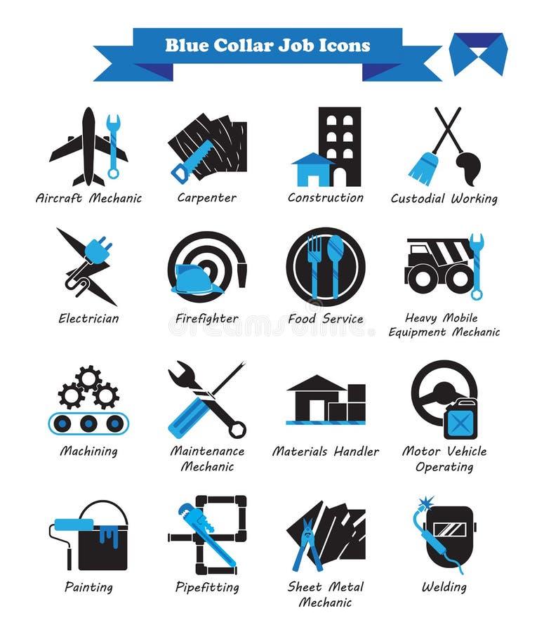 Jobb för blå krage - svart och blått sänker symboler royaltyfri foto