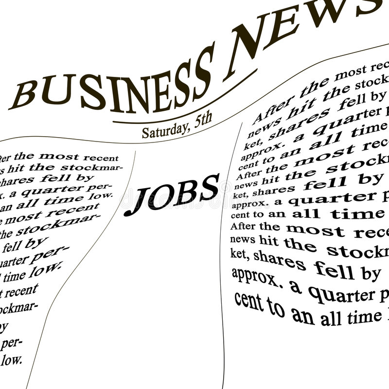 Jobb i nyheterna skyler över brister stock illustrationer