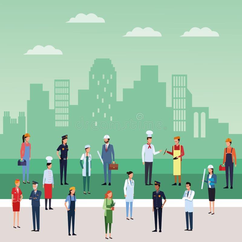 Jobb och arbetare royaltyfri illustrationer
