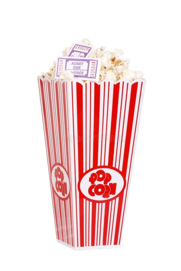 jobbanvisningar för hinkfilmpopcorn royaltyfri bild