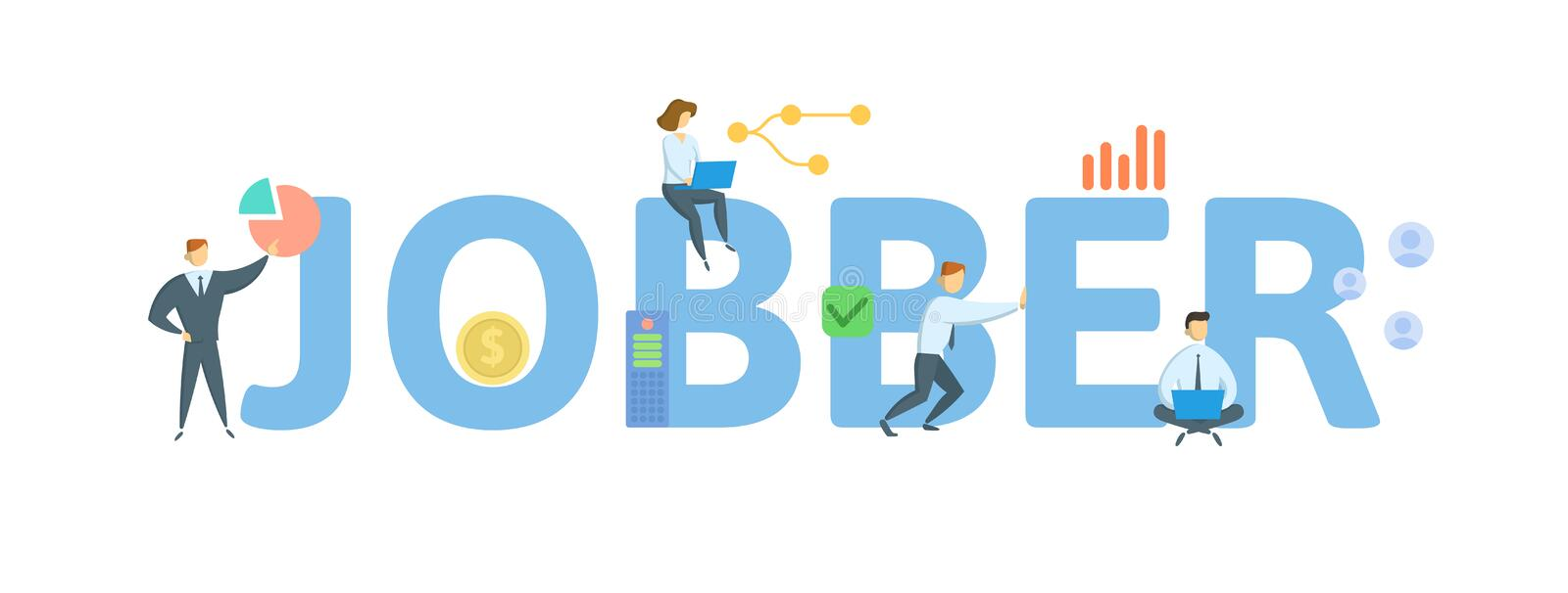 JOBBER. Concept with people, letters and icons. Flat vector illustration. Isolated on white background. royalty free illustration