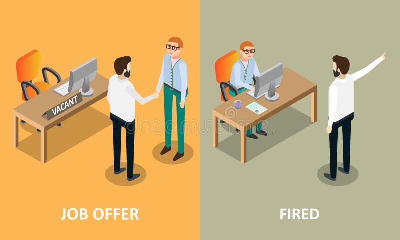 Jobberbjudande och avfyrade beståndsdelar för vektorbegreppsdesign vektor illustrationer